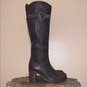 Tory Burch Alaina Brown Leather Tall Boots 7.5